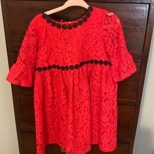 Kate Spade red and black lace dress